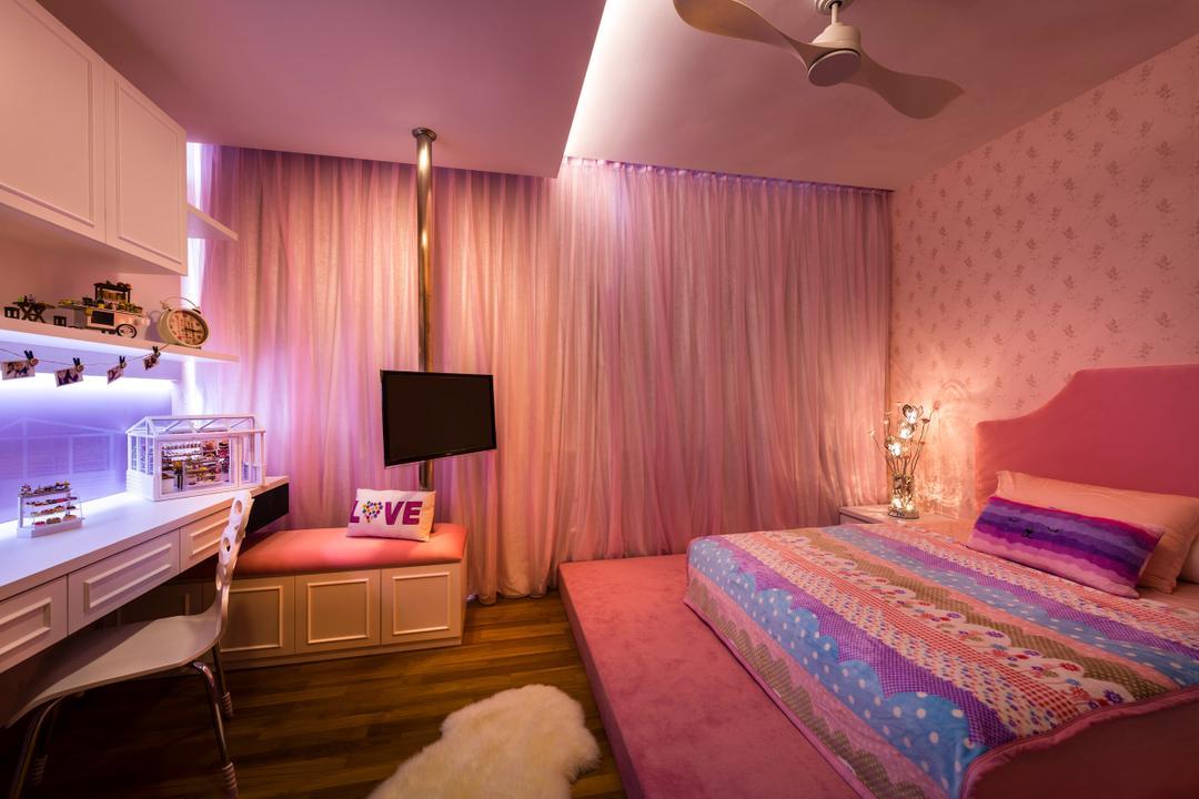 Estri Villas, Space Vision Design, Eclectic, Bedroom, Landed, Pink, Elevated Floor, Steps, Indoors, Interior Design, Room