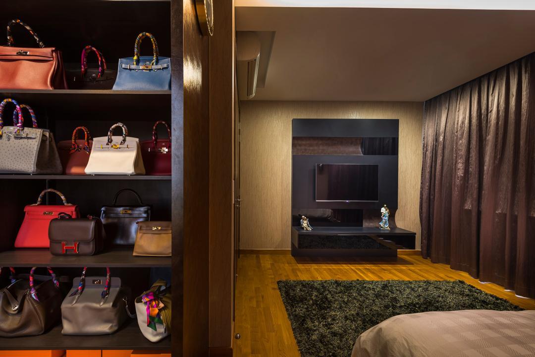 Estri Villas, Space Vision Design, Eclectic, Bedroom, Landed, Shelf, Open Shelf, Luggage, Suitcase, Bag, HDB, Building, Housing, Indoors, Sink, Briefcase, Electronics, Entertainment Center, Home Theater
