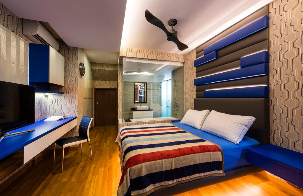 Eclectic, Landed, Bedroom, Estri Villas, Interior Designer, Space Vision Design, High Headboard, Bed, Furniture, Indoors, Room, Interior Design