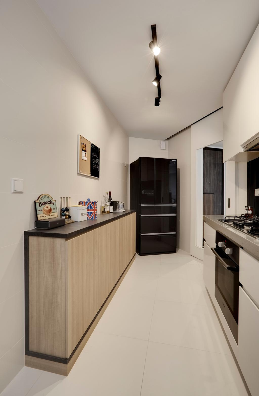 Modern, Condo, Kitchen, The Interlace, Interior Designer, Liid Studio, Wooden Laminate, Wood Laminate, Kitchen Flooring, Laminate, Track Light, Track Lighting, Trackie, Appliance, Electrical Device, Oven