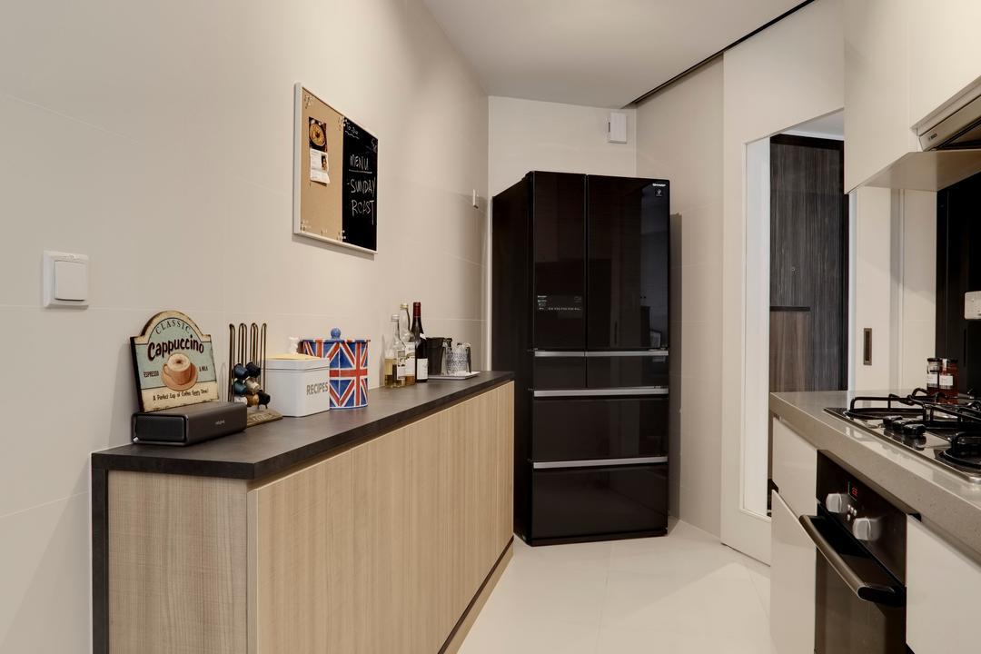 The Interlace, Liid Studio, Modern, Kitchen, Condo, Wooden Laminate, Wood Laminate, Kitchen Flooring, Laminate, Track Light, Track Lighting, Trackie, Appliance, Electrical Device, Oven