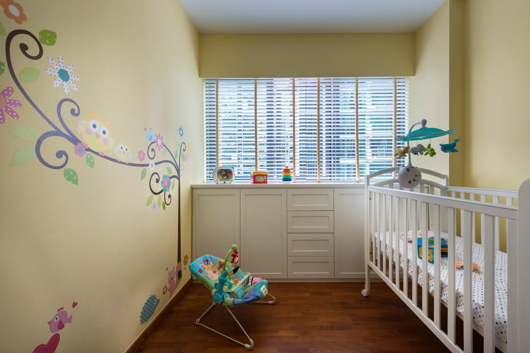 Compassvale Bow (Esparina Residences), Third Avenue Studio, Eclectic, Bedroom, Condo, Kids Room, Children, Cot, Wall Sticker, Indoors, Nursery, Room, Crib, Furniture, Ornament, Paisley