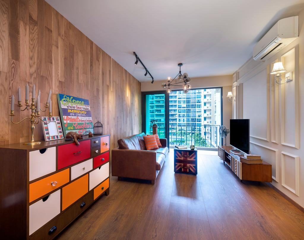 Eclectic, Condo, Living Room, Compassvale Bow (Esparina Residences), Interior Designer, Third Avenue Studio, Parquet, Track Light, Trackie, Victorian, Architrave, Wood Lamiante, Couch, Furniture, Flooring, Indoors, Room