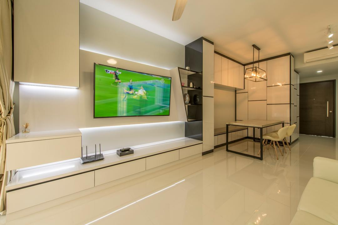 Heron Bay, Glamour Concept, Modern, Living Room, Condo, Modern Living Room, Built In Cabinet, Dsw Chair, White Theme, Storage, Built In Tv Console, Built In Shelves, Track Light, Tv Feature Wall, Downlight, Open Concept, Dining Room, Indoors, Interior Design, Molding