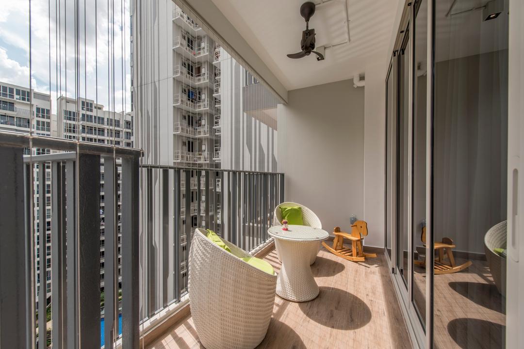 Heron Bay, Glamour Concept, Modern, Balcony, Condo, Basket Outdoor Furniture, Mini Ceiling Fan, Sliding Door, Swinging Horse
