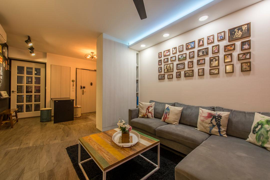 Upper Serangoon Crescent, Glamour Concept, Scandinavian, Living Room, HDB, Picture Arrangement, Picture Frames, Downlight, False Ceiling, French Door, Carpet, Sofa, Wooden Flooring, Open Concept, Dining Room, Dove Lighting, Track Light, Couch, Furniture, Bench, Chair, Cushion, Home Decor