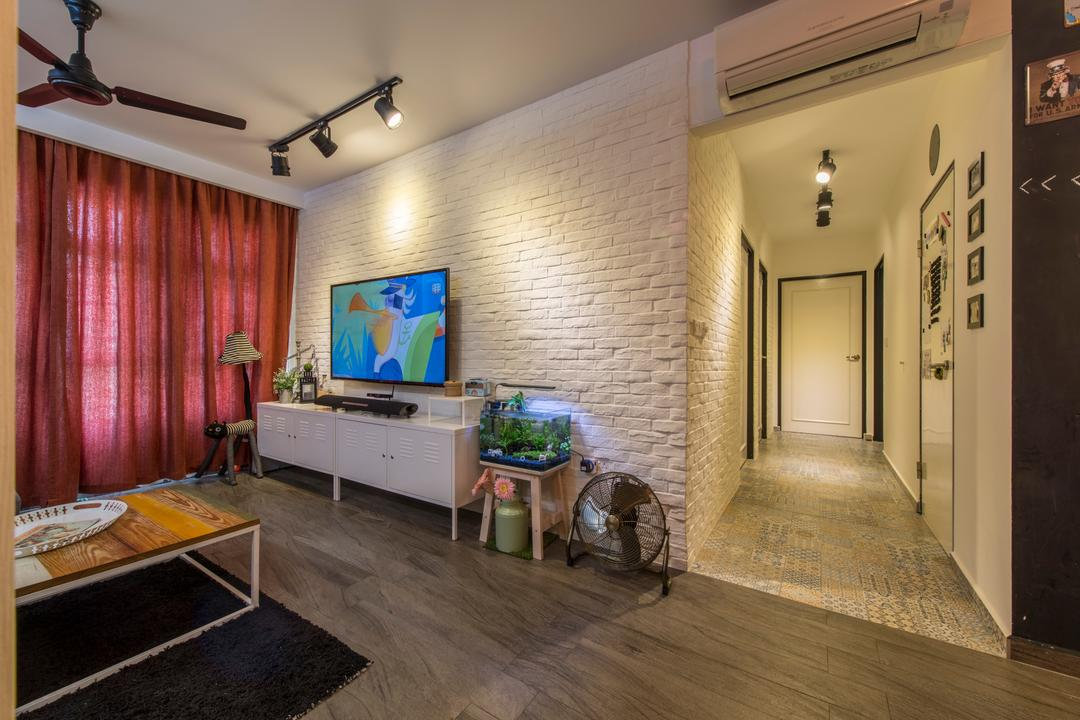 Upper Serangoon Crescent, Glamour Concept, Scandinavian, Living Room, HDB, Wall Mounted Tv, Brick Wall, Track Light, Industrial Ceiling Fan, Corridor, Industrial Table, Industrial Tv Console, Industrial Floor Fan, Curtain, Wooden Floor, Cement Flooring, Red Curtain, Electronics, Monitor, Screen, Tv, Television