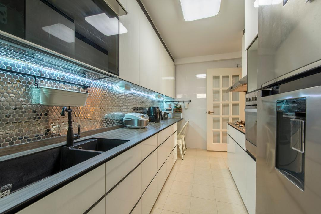 Upper Serangoon Crescent, Glamour Concept, Scandinavian, Kitchen, HDB, Built In Cupboard, Built In Appliance, Black Sink, Traditional Faucet, French Door, Ceiling Light, Shiny Mosaic Tiles