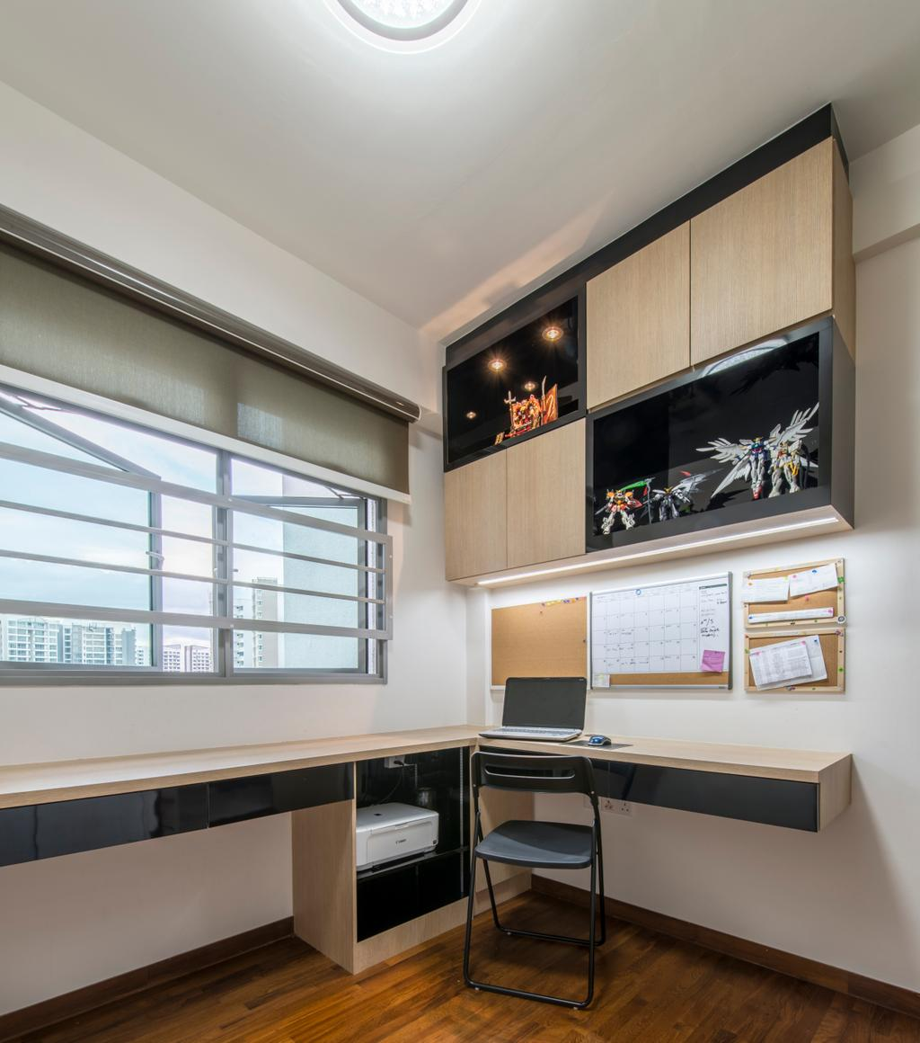 Modern, HDB, Study, Parkland Residence, Interior Designer, Glamour Concept, Study Room, Built In Study Table, Built In Cabinet, Foldable Chair, Desk, Furniture, Table