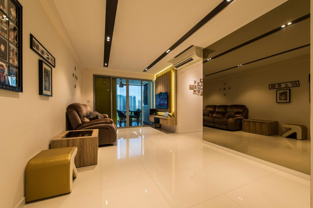 Parkland Residence, Glamour Concept, Modern, Living Room, HDB, False Ceiling, Downlights, Coloured Mirror, Picture Frames, Picture Arrangement, Spacious, Sliding Door, Tv Wall Feature, Conference Room, Indoors, Meeting Room, Room, Couch, Furniture