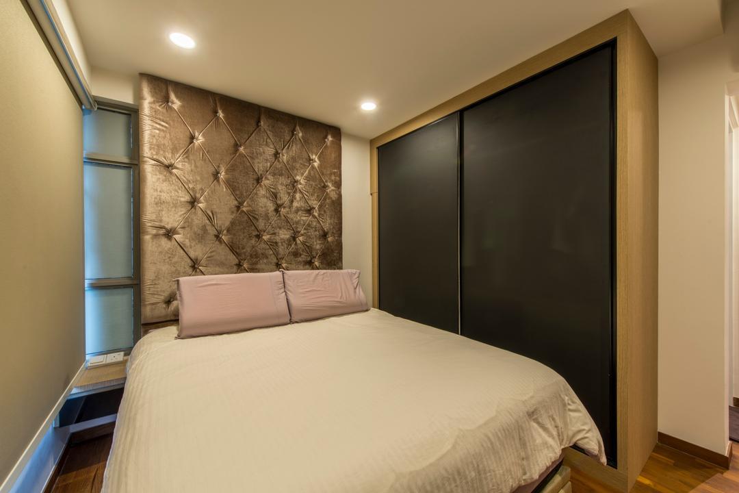 Parkland Residence, Glamour Concept, Modern, Bedroom, HDB, Padded Wall, Upholstered Wall, Built In Wardrobe, Downlight, Roll Curtain, Sliding Wardrobe, Carpentry, Indoors, Interior Design, Room