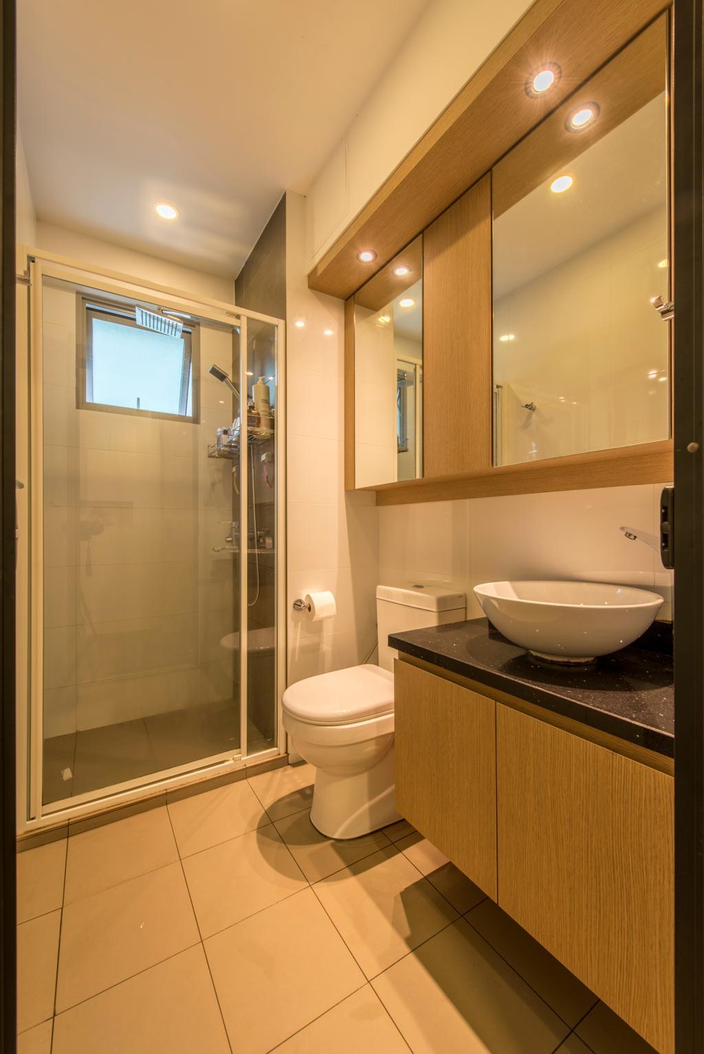 Modern, HDB, Bathroom, Parkland Residence, Interior Designer, Glamour Concept, Downlights, Mirror, Ceramic Tiles, Shower Screen, Round Sink, Sink Countertop, Bathroom Tiles, Toilet, Indoors, Interior Design, Room