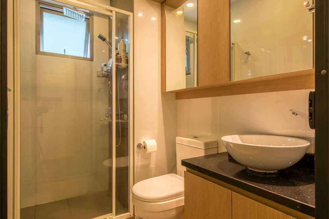 Parkland Residence, Glamour Concept, Modern, Bathroom, HDB, Downlights, Mirror, Ceramic Tiles, Shower Screen, Round Sink, Sink Countertop, Bathroom Tiles, Toilet, Indoors, Interior Design, Room