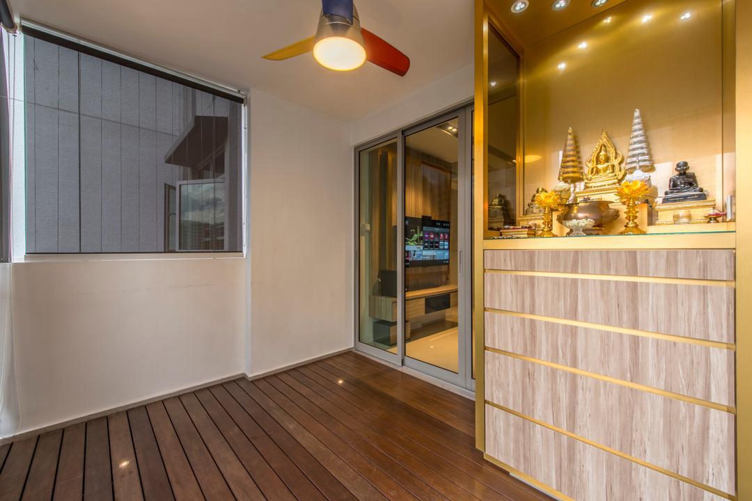 Parkland Residence, Glamour Concept, Modern, Balcony, HDB, Built In Cabinet, Built In Drawer, Mini Ceiling Fan, Wooden Flooring, Sliding Door, White Wall, Light Fixture, Flooring, Window, Hardwood, Wood