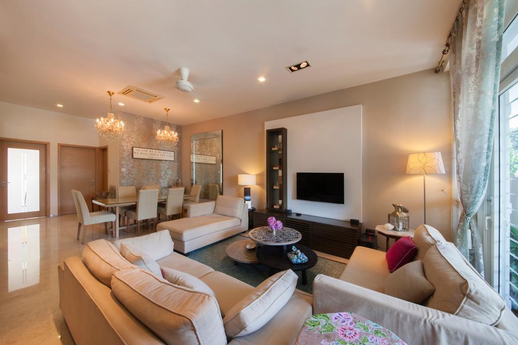 Contemporary, Landed, Living Room, Tavistock Avenue, Interior Designer, Schemacraft, Kdk Ceiling Fan, Wall Mounted Tv, Comfy Sofa, Marble Tiles, Couch, Furniture, Indoors, Room, Bedroom, Interior Design