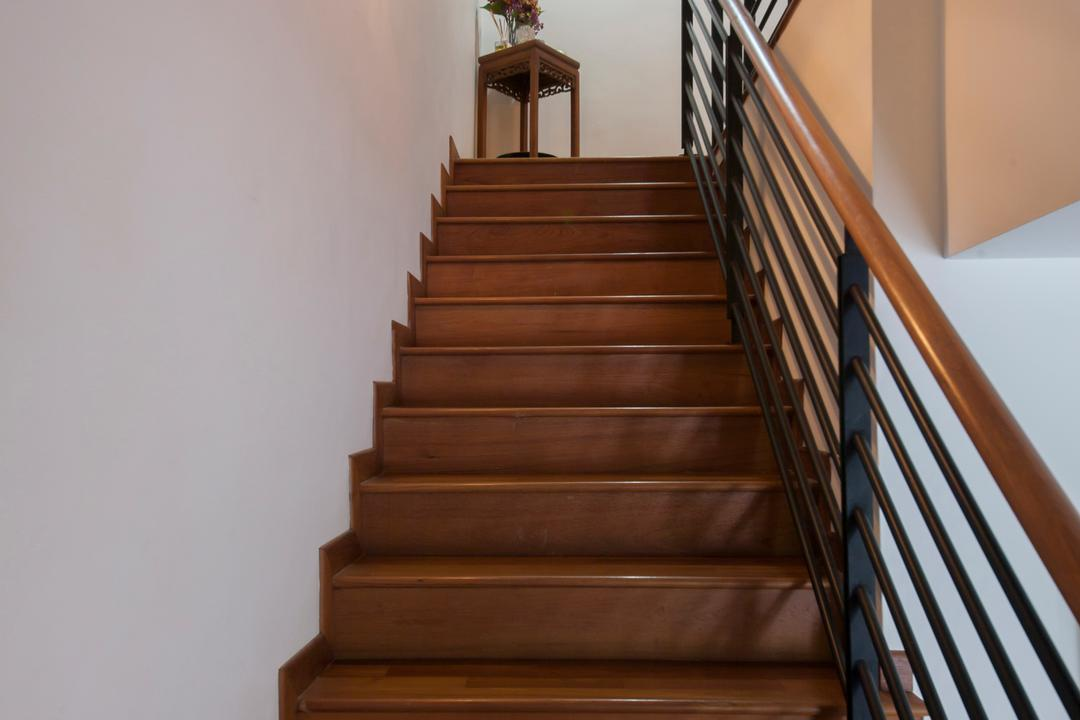 Tavistock Avenue, Schemacraft, Contemporary, Landed, Staircase, Wooden Flooring, Iron Railing, Wall Lamp, White Wall, Railing, Banister, Handrail