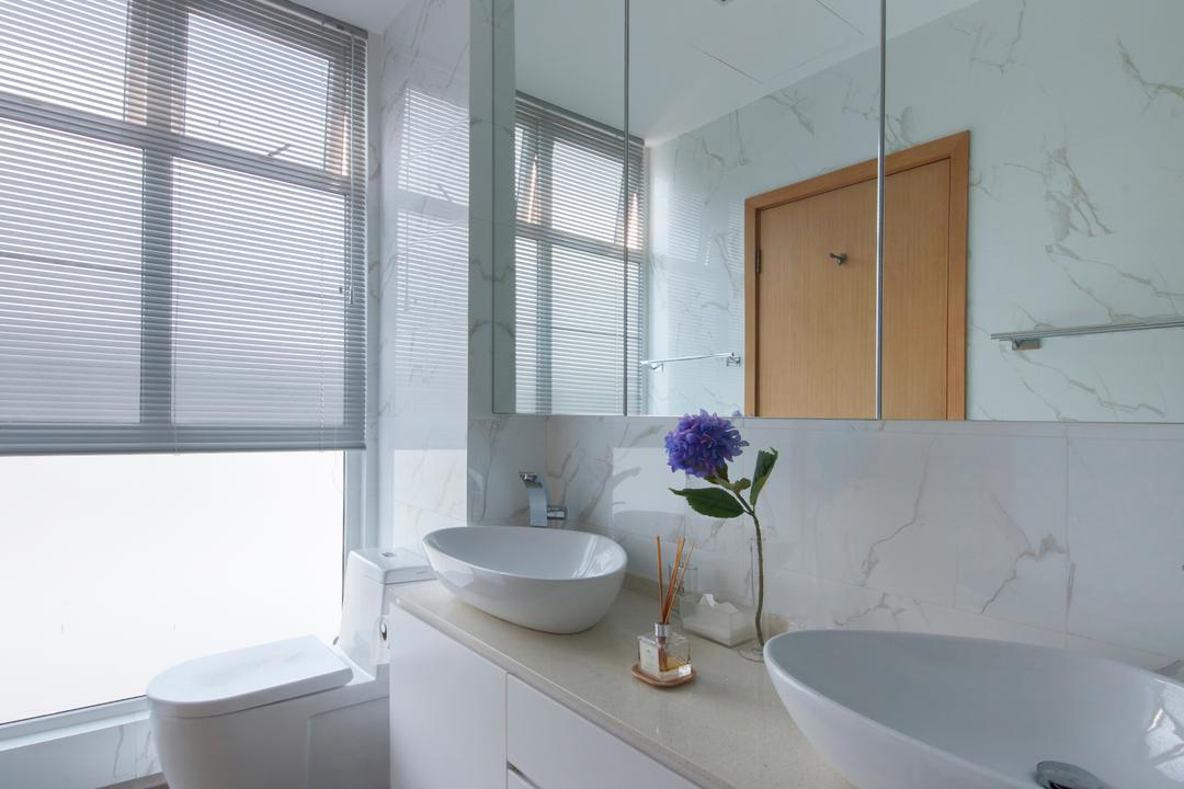 Tavistock Avenue, Schemacraft, Contemporary, Bathroom, Landed, White Theme, Marble Tiles, Bright, Mirror Cabinet, Downlight, Vessel Sink, Flora, Jar, Plant, Potted Plant, Pottery, Vase, Indoors, Interior Design, Room