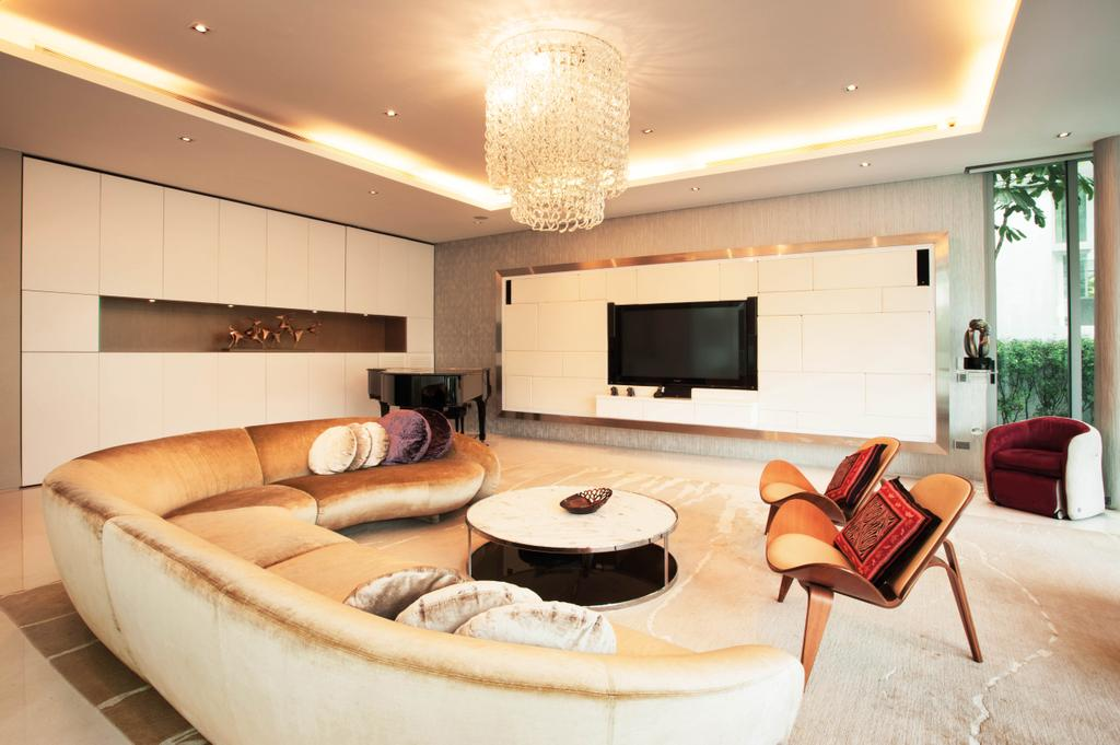 Modern, Landed, Living Room, Lakeshore View - Sentosa, Interior Designer, Starry Homestead, Cove Light, Concealed Lighting, Chadelier, Hanging Light, Couch, Furniture, Indoors, Room, Interior Design