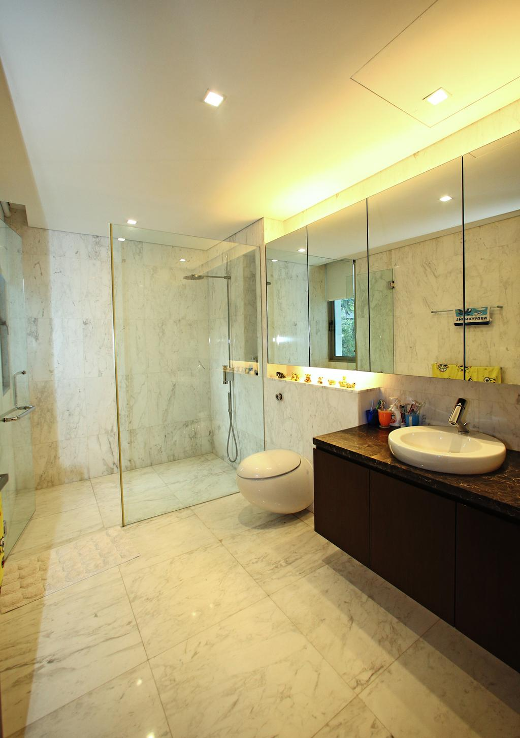 Modern, Landed, Bathroom, Lakeshore View - Sentosa, Interior Designer, Starry Homestead, Marble Tiles, Concealed Lighting, Indoors, Interior Design, Room