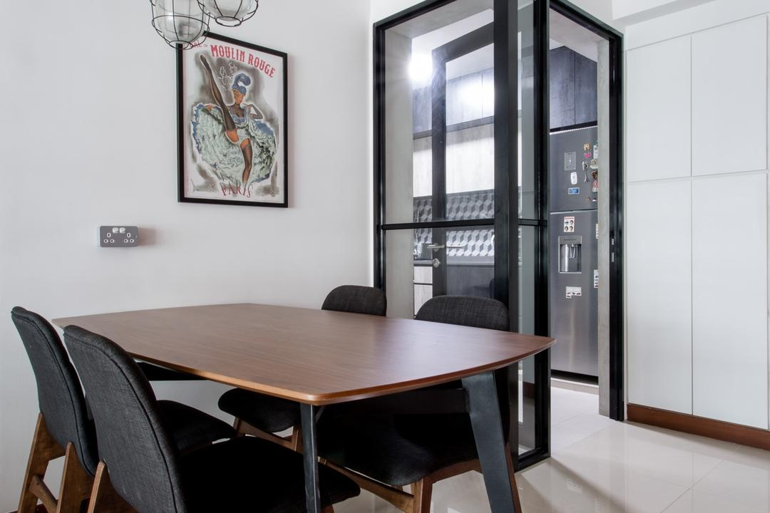 Punggol Drive, Prozfile Design, Industrial, Dining Room, HDB, Pendant Light, White Wall, Chair, Furniture, Dining Table, Table, Door, Sliding Door