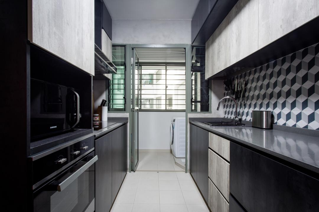 Punggol Drive, Prozfile Design, Industrial, Kitchen, HDB, Geometric, Cool Tiles, Appliance, Electrical Device, Oven
