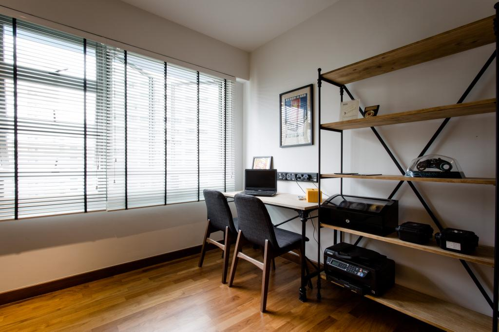Industrial, HDB, Study, Punggol Drive, Interior Designer, Prozfile Design, Wooden Shelf, Blind Curtain, Chair, Furniture, Dining Table, Table