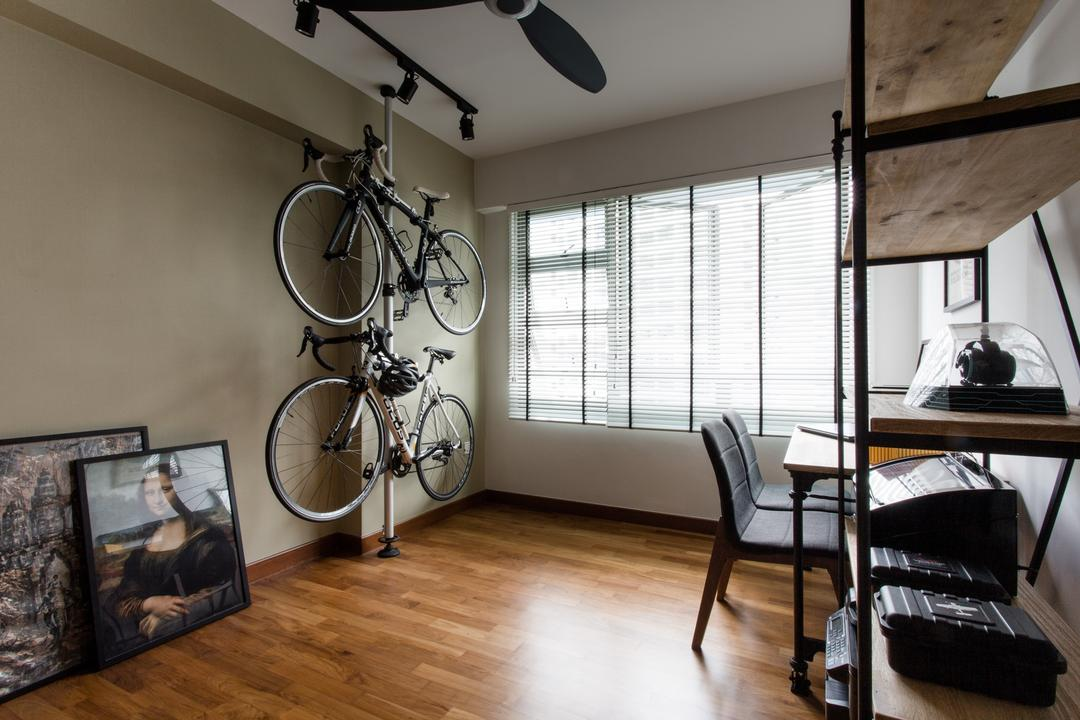 Punggol Drive, Prozfile Design, Industrial, Study, HDB, Neutral Wall, Picture Frames, Picture Ideas, Wooden Shelf, Bicycle, Bike, Transportation, Vehicle, Chair, Furniture, Art, Painting, Building, Hostel, Housing, Indoors, Loft, Dining Table, Table