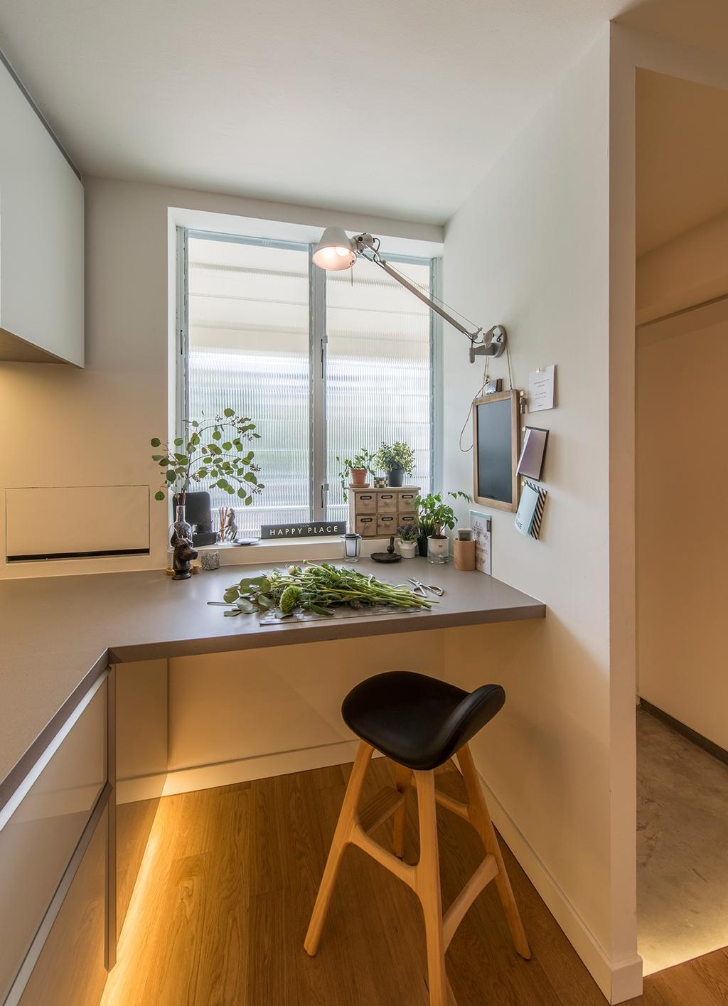 Scandinavian, HDB, Kitchen, Jalan Batu (Block 6), Interior Designer, Bowerman, Stool, Wall Lamp, Dining Room, Indoors, Interior Design, Room