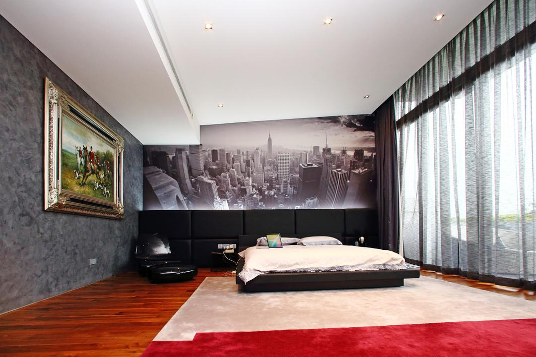 Lakeshore View - Sentosa, Starry Homestead, Modern, Bedroom, Landed, Wallpaper, Parquet, Picture, Full Length Window, Curtain, Indoors, Interior Design, Bed, Furniture, Art, Painting, Room