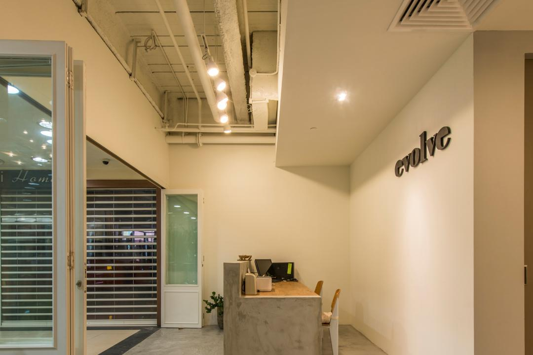 Evolve Salon, Bowerman, Eclectic, Commercial, Cement Flooring, Cement Counter, Track Light, Recessed Lights, Built In Air Condition