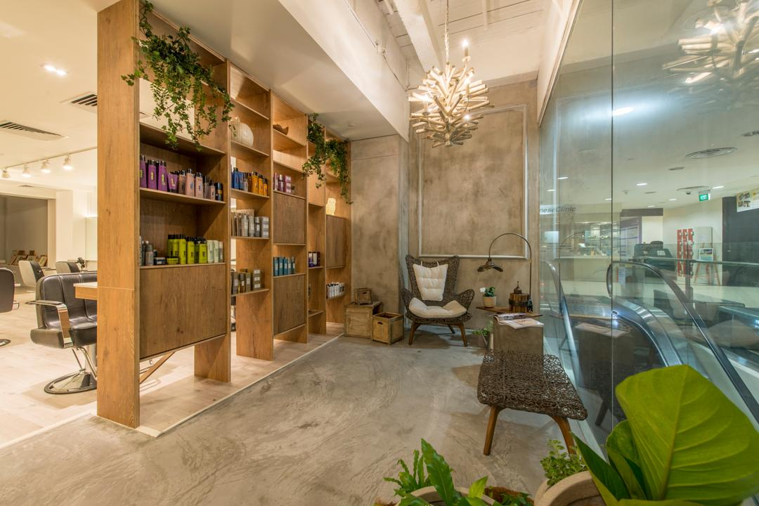 Evolve Salon, Bowerman, Eclectic, Commercial, Wooden Shelves, Cement Flooring, Plants, Bamboo Armchair, Chandelier, Classy, Flora, Jar, Plant, Potted Plant, Pottery, Vase, Chair, Furniture, Indoors, Lobby, Room