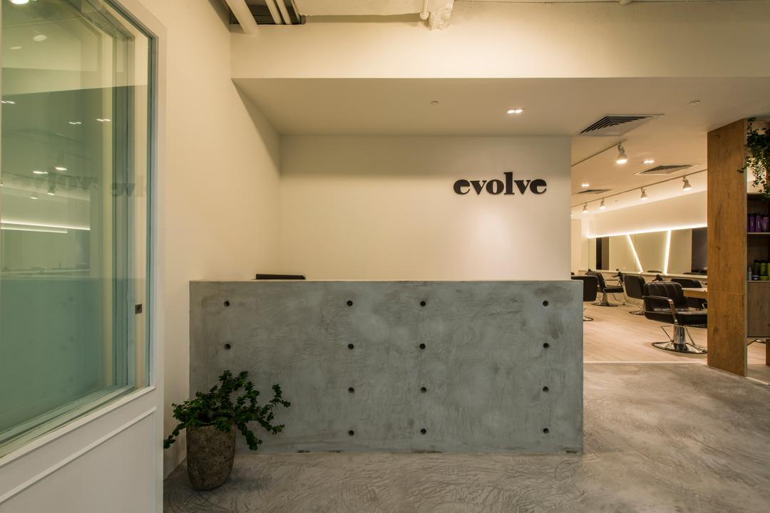 Evolve Salon, Bowerman, Eclectic, Commercial, Cement Counter, Cement Flooring, Recessed Lights, Flora, Jar, Plant, Potted Plant, Pottery, Vase