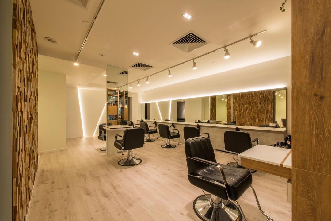 Evolve Salon, Bowerman, Eclectic, Commercial, Salon, Track Light, Panoramic Mirror, Wooden Flooring, Recessed Lights, Built In Air Condition, Luggage, Suitcase, Chair, Furniture, Indoors, Office, Sink