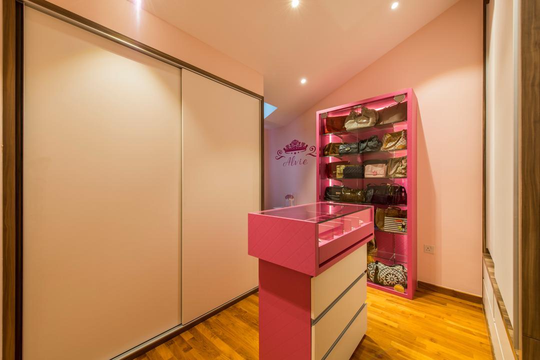 The Nautical, The Two Big Guys, Modern, Bedroom, Condo, Wooden Floor, Sliding Door Wadrobe, Pink Shelves, Recessed Lights