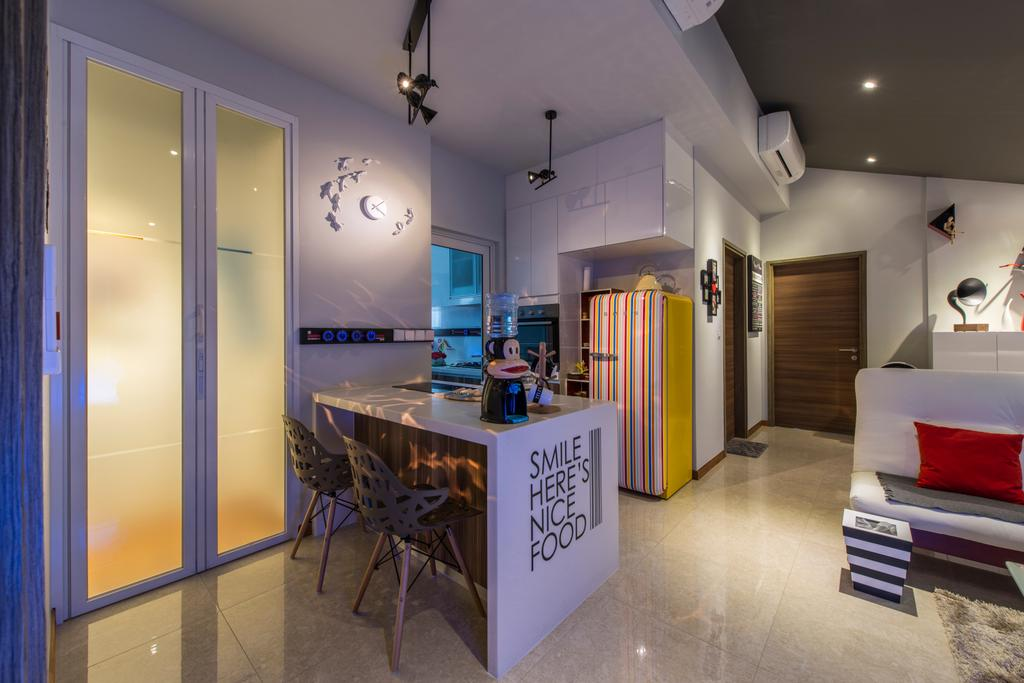 Modern, Condo, Dining Room, The Nautical, Interior Designer, The Two Big Guys, Dining Chair, Dining Table With Marble Top, Hanging Light, Air Condition, Wooden Door, Marble Floor, Recessed Light, Slide Door