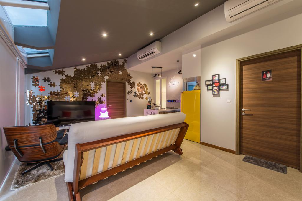 Modern, Condo, Living Room, The Nautical, Interior Designer, The Two Big Guys, Marble Floor, Air Condition, Wooden Door, White Wall, Recessed Lightings, Decorations, Picture Frame, Sofa, Wooden Lounge Chair, Carpet Mat, Wall Mounted Light, Spacious, , Window Ceiling, Architecture, Building, Skylight, Window, Bed, Furniture