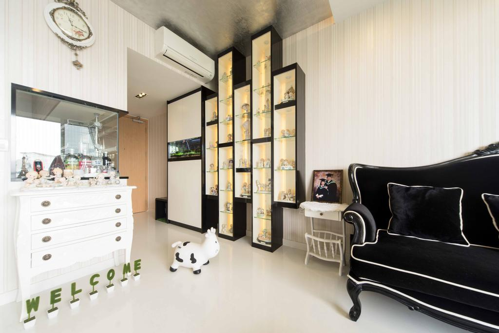 Transitional, Condo, Living Room, Austville Residences, Interior Designer, Unity ID, Display Shelf, Black Sofa, Dresser