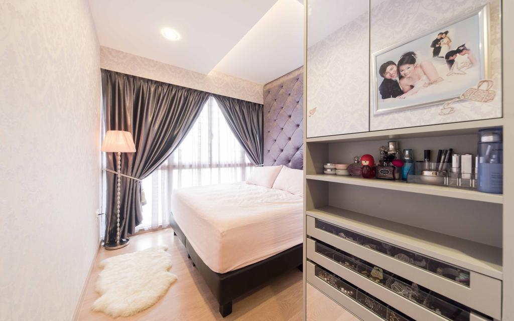 Transitional, Condo, Bedroom, Austville Residences, Interior Designer, Unity ID, Headboard, Concealed Lighting, Standing Lamp, Curtain