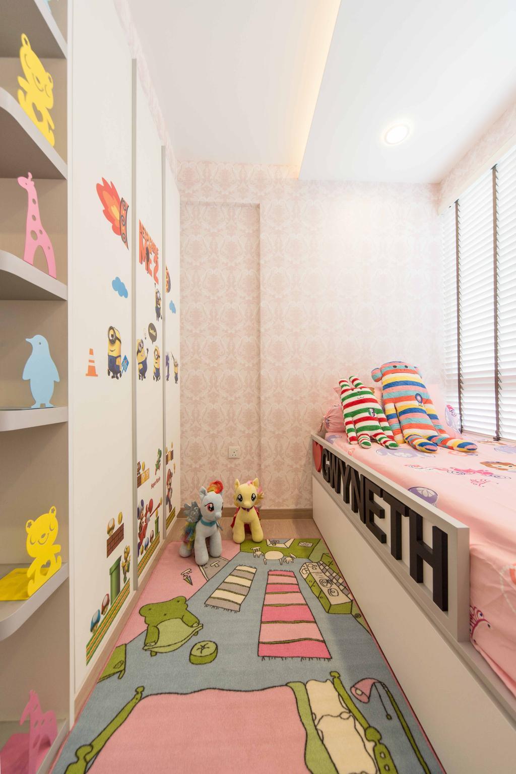 Transitional, Condo, Bedroom, Austville Residences, Interior Designer, Unity ID, Wallpape, Concealed Light, Childrens Room