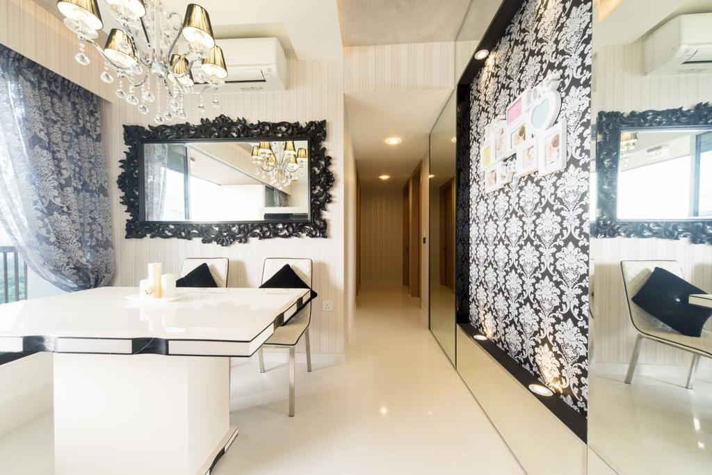Transitional, Condo, Living Room, Austville Residences, Interior Designer, Unity ID, Wallpaper, Chandelier, Hanging Light