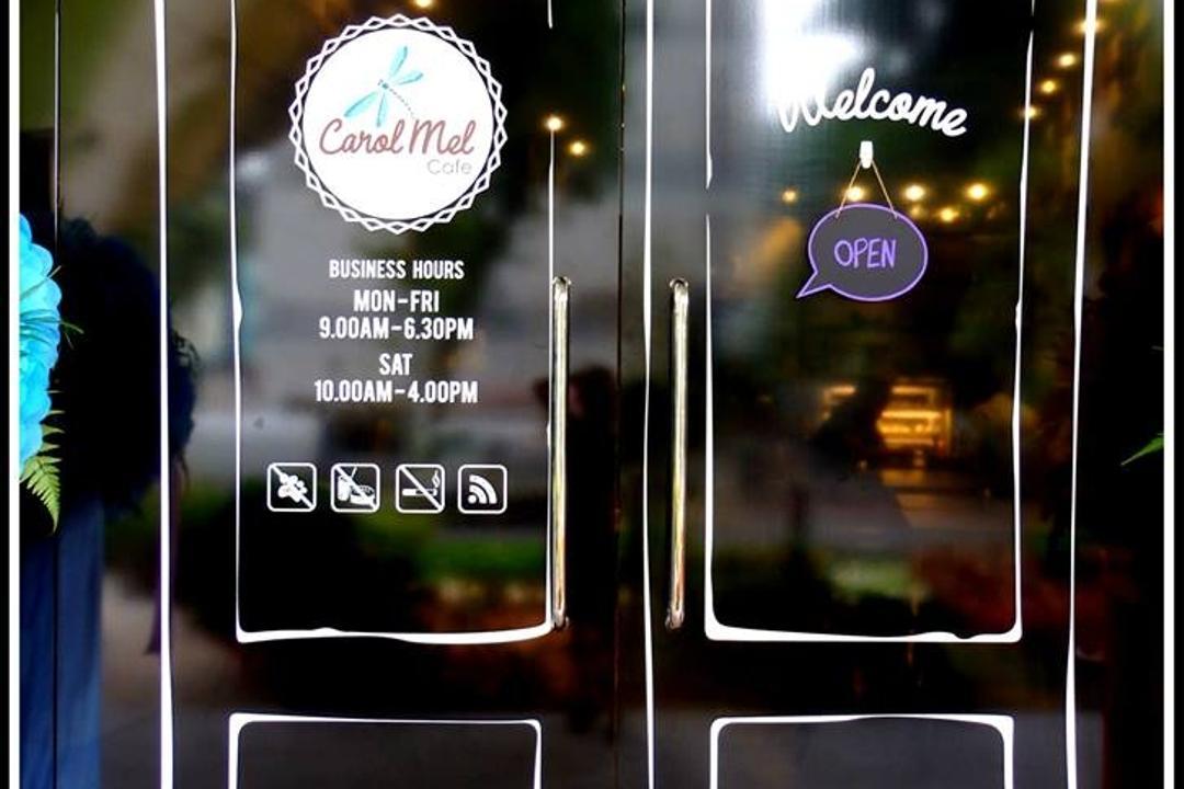 Carol Mel Cafe, Space Atelier, Industrial, Commercial, Entrance, Glossy Door, Brochure, Flyer, Paper, Poster, Flora, Jar, Plant, Potted Plant, Pottery, Vase