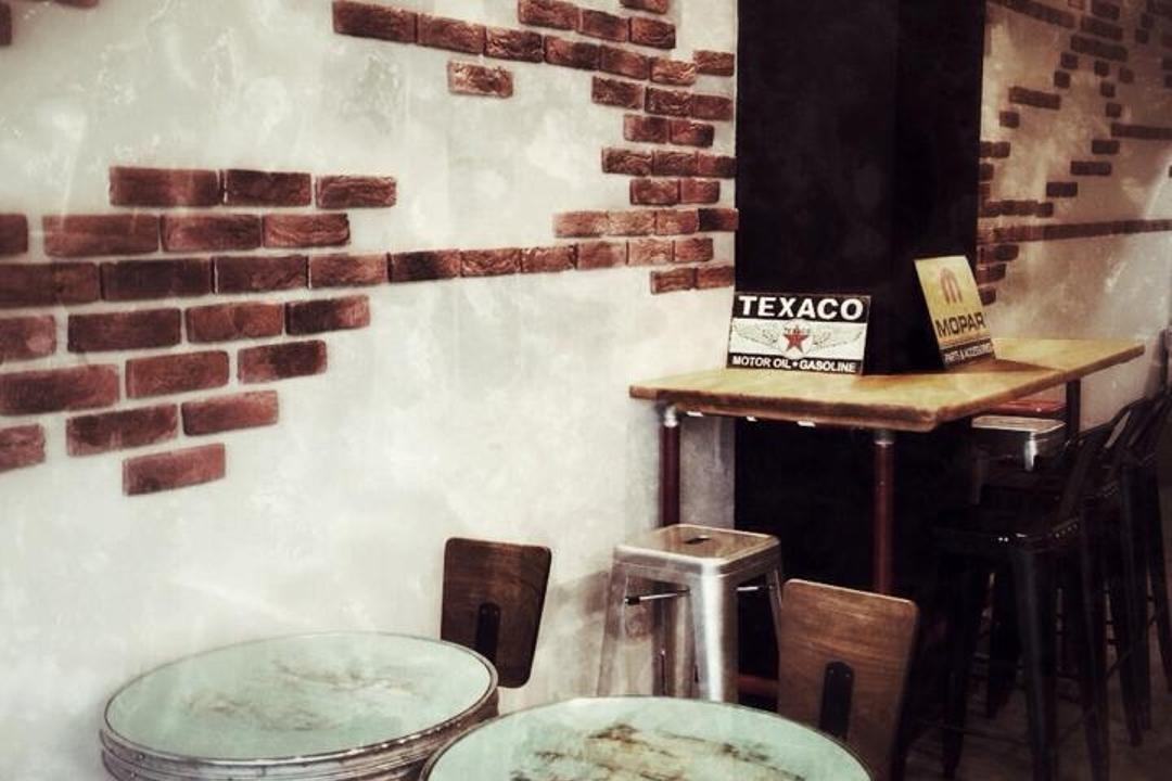 Carol Mel Cafe, Space Atelier, Industrial, Commercial, Brick Wall, Round Tables, Cup, Dish, Food, Meal, Plate