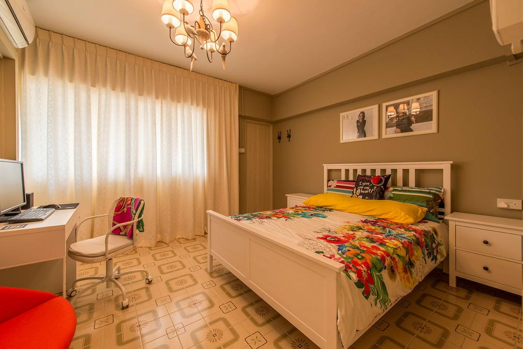 Chai Chee Drive, Ace Space Design, Eclectic, Bedroom, HDB, Patterned Floor, King Size Bed, Goldish Brown Walls, Sling Curtains, Wooden Study Table, Chandelier, Swivel Chair, White Drawer, Indoors, Interior Design, Room