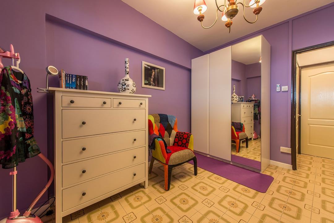 Chai Chee Drive, Ace Space Design, Eclectic, Bedroom, HDB, Patterned Floor, Dresser, Drawer, Mirror, Purple Wall, Wardrobe, Quirkychair, Chandelier, Lounge Chair, Indoors, Interior Design, Room, Couch, Furniture, Nursery