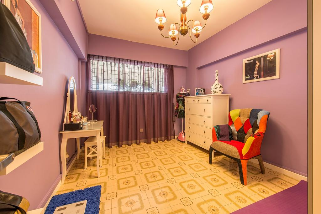 Eclectic, HDB, Bedroom, Chai Chee Drive, Interior Designer, Ace Space Design, Chandelier, Patterned Floor, Lounge Chair, Drawer, Sling Curtain, Purple Wall, Wall Mounted Shelves, Mini Study Area, Study Stool, Study Table, Dresser Table, Quirky Chair, Chair, Furniture, Indoors, Nursery, Room, Curtain, Home Decor