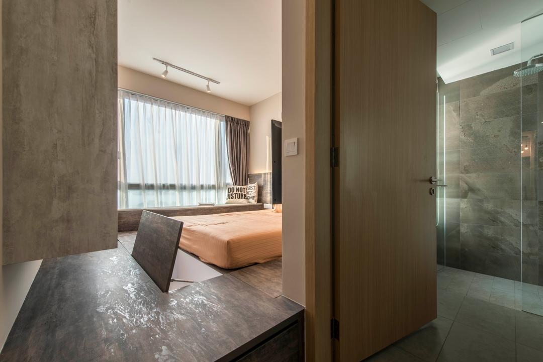 Ripple Bay, Yonder, Contemporary, Bedroom, Condo, Bed Platform, Laminated Wood, Smart Storage, Cosy, Sling Curtain, HDB, Building, Housing, Indoors