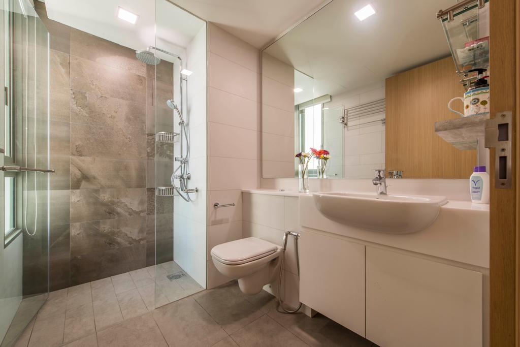 Contemporary, Condo, Bathroom, Ripple Bay, Interior Designer, Yonder, Ceramic Sink, Glass Panel, Mirror, Sink Countertop, Hand Shower Set, Bathroom Tiles, Toilet, Indoors, Interior Design, Room