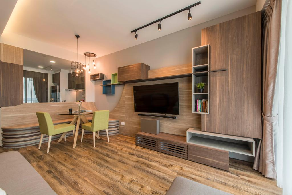 Contemporary, Condo, Living Room, Ripple Bay, Interior Designer, Yonder, Wall Mounted Tv, Track Light, Laminated Wood, False Ceiling, Tv Feature Wall, Tv Built In Console, Wooden Storage, Dining Table, Furniture, Table, Indoors, Interior Design, Plywood, Wood