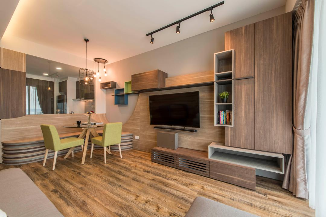 Ripple Bay, Yonder, Contemporary, Living Room, Condo, Wall Mounted Tv, Track Light, Laminated Wood, False Ceiling, Tv Feature Wall, Tv Built In Console, Wooden Storage, Dining Table, Furniture, Table, Indoors, Interior Design, Plywood, Wood