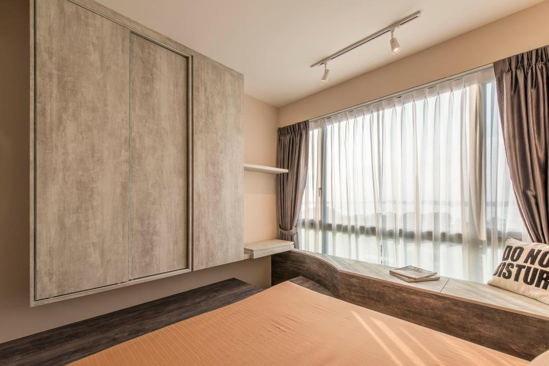 Ripple Bay, Yonder, Contemporary, Bedroom, Condo, Sling Curtain, Track Light, Built In Wardrobe, Wording Cushion, Window Bay Seat, Laminated Wood, Cosy